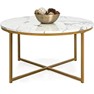 Best Choice Products 36in Faux Marble Modern Round Accent Side Coffee Table for Living Room, Dining Room, Tea, Home Décor w/Metal Frame, Non-Marring Foot Caps - White/Bronze Gold