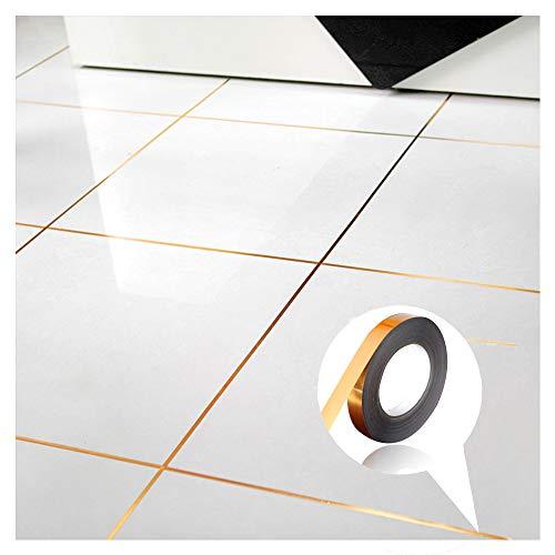Pegatinas de azulejos impermeables para sellado de huecos de piso, adhesivo autoadhesivo para decoración del hogar (pequeño, dorado)