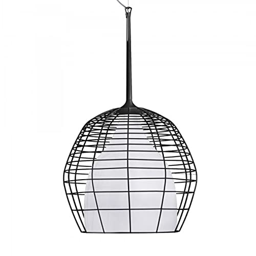 Lámpara Colgante, Casquillo E27, 20W, de Cristal soplado y Metal Lacado Mate, Modelo Cristal Cage pequeña, 34 x 34 x 69 centímetros, Color Negro (Referencia: LI02VP 20 E)