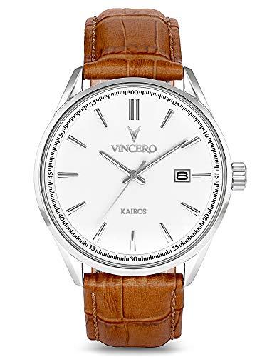 Vincero Men's Kairos Luxury Watch 42mm Quartz Movement White/Silver