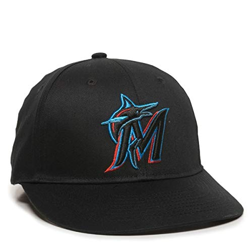 OC Sports MLB-300 MLB - Gorra de béisbol de sarga de algodón, diseño de Miami Marlins, color negro, Negro