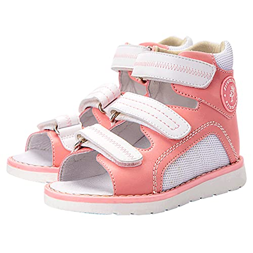 Zapatos ortopédicos para niños, sandalias correctivas de alta altura de verano con soporte de arco y tobillera XO-Shaped Legs Flat Feet Hallux Valgus Zapatillas correctivas para niños Grils,Ro