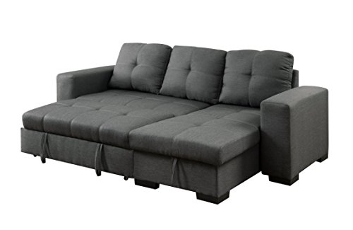 Furniture of America Charlton Contemporary Corner Sectional with Pull-Out Sleeper, Gray