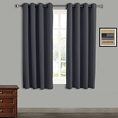 Rose Home Fashion RHF 2 Panels-Blackout Thermal Insulated Curtain - Antique Bronze Grommet Top for bedroom-Set of 2 Panels-52W by 63L Inches-Dark Grey-5263p2
