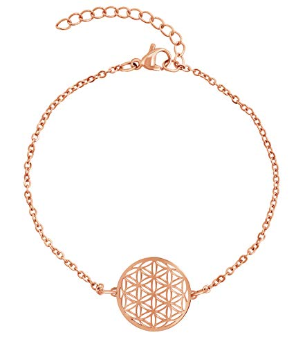 Nuoli® Lebensblume Armband Damen Rosegold (15 + 5cm verstellbar) Armkette für Frauen & Mädchen mit Blume des Lebens Anhänger