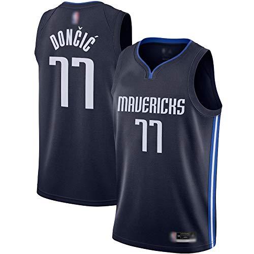 WEVB Chalecos de baloncesto para hombre, uniformes Mavericks Doncic #77 azul marino, Luka Dallas 2020/21 de secado rápido sin mangas uniformes - Edición declarativa