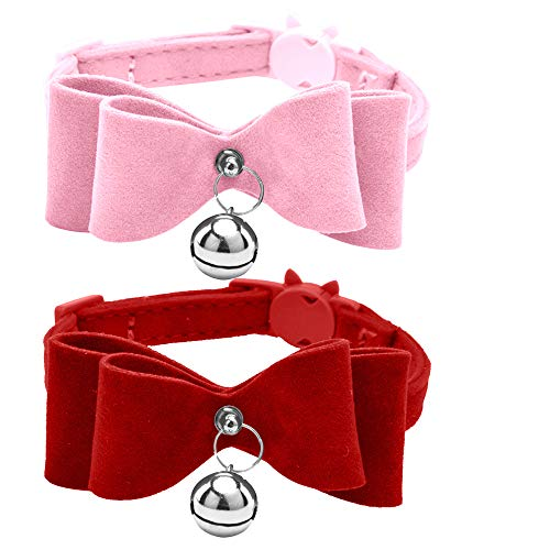 2 Pcs Breakaway Bowtie Cat Collars with Bell Red & Pink