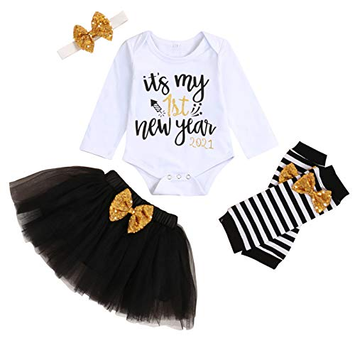 My First New Year Outfit Baby Girl My 1st New Year 2021 Romper+Tutu Skirt+Leg Warmers+Headband 4Pcs Clothes Set (Black, 6-9 Months)