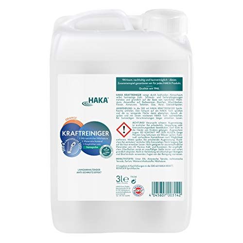 HAKA Kraftreiniger I 3 Liter Kalkreiniger Nachfüllkanister I Reinigungsmittel gegen Kalk und Schmutz I Entfernt Kalkverschmutzungen, Wasserflecken und Seifenreste in Küche und Bad