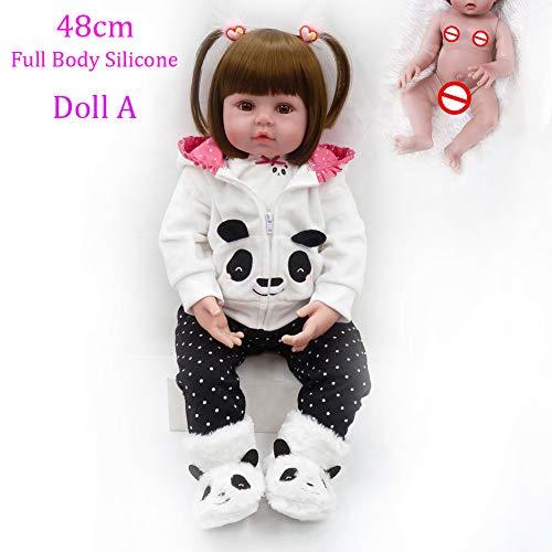 Cenphua Wiedergeborenes Baby Doll 48cm lebensechter Vollsilikon-Vinylkörper Neugeborene realistische Puppen der Baby 19inch mit Magnet Schnullerfür