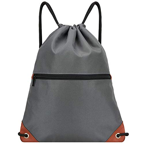 LIVACASA Outlet Mochila de Cuerdas Mujer Hombre Bolsas de Cuerdas Bolso Mujer Casual A Prueba de Agua Impermeable Bolsillo Exterior Extra Ajustable Correas de Hombros 43×33cm Gris