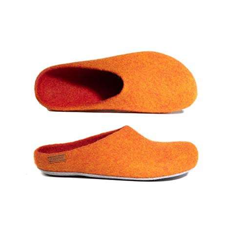 MagicFelt Filz Hausschuhe AP 701 aus Reiner Wolle - Unisex-Erwachsene - Weiche Sohle - in Orange (orange 4807), 40 EU (6.5 Erwachsene UK)