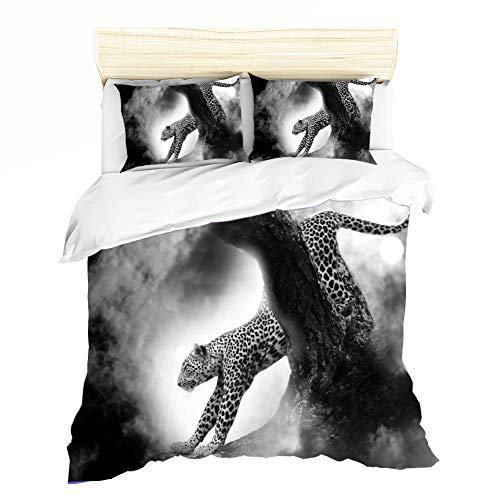 ZHYINA Ropa de cama de microfibra 3D con estampado de leopardo, 1 funda nórdica con cremallera oculta + fundas de almohada, traje de 2 piezas (A3, 220 x 240 cm + 80 x 80 cm x 2).
