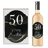 Étiquette pour bouteille de vin « Alles Gute zum Geburtstag » - 50 autocollants pour 50 ans - 8,5 x 12 cm (50 anniversaire)