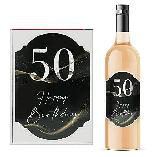 50 pegatinas para botellas de vino, 8,5 x 12 cm, diseño con texto en alemán 'Alles Gute zum Geburtstag'