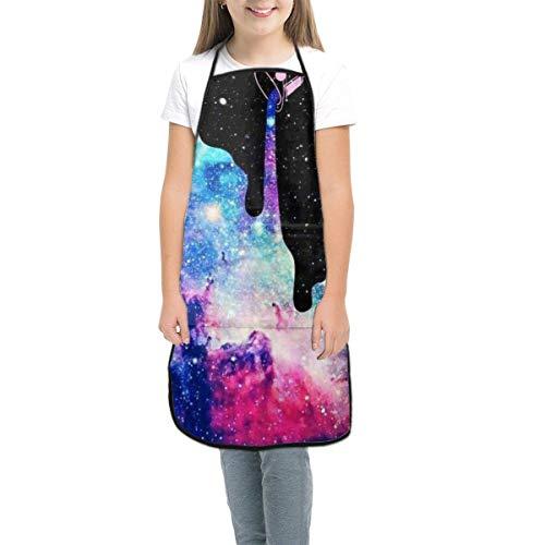 Malschürze für Kinder, Motiv: Galaxie, verstellbar, mit Tasche