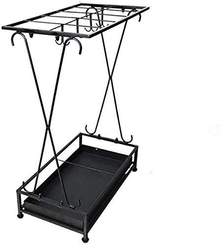 Moolo Stehen Square-Schirm mit Haken Tropfschale Innendekoration Lagerung Gusseisen Schwarz 44x24x60 cm