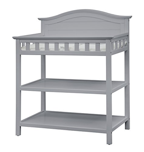 Thomasville Kids Southern Dunes Changing Table, Pebble Gray, Changing Table with Water Resistant Changing Pad, Safety Strap & Two Storage Shelves, for Infants & Toddlers