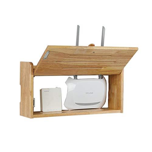 Set Top Box Regal Gummiholz Wandkasten Blockieren Router-Box Ablageboden, 3 Arten (Farbe : Rubber Wood Color medium)