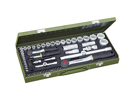 PROXXON Steckschlüsselsatz, Komplettkasten mit 1/4'-und 1/2'-Umschaltratsche sowie Schraubendrehergriff, 56-teiliges Werkzeug-Set mit Stahlkasten, 23040