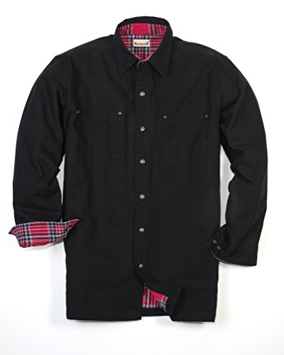Backpacker Canvas/Flannel Lined Shirt Jacket, Black, X-Large Tall
