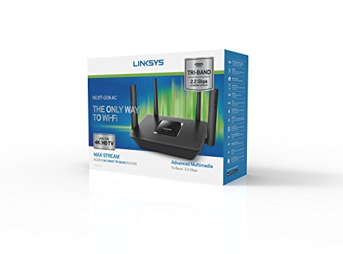 Linksys tri-band wifi router for home (max-stream ac2200 mu-mimo fast wireless router), black 10 provides up to 1,500 square feet of wi-fi coverage for 15+ wireless devices works with existing modem, simple setup through linksys app enjoy 4k hd streaming, gaming and more in high quality without buffering
