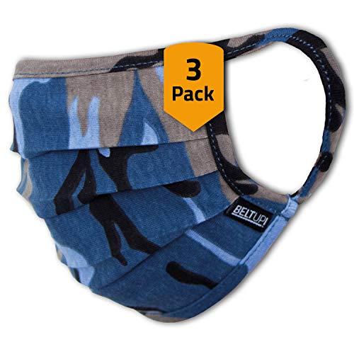 Facetex 3er-Pack Mundschutz Kinder Junge & Mädchen waschbar, Camouflage blau | aus 100% Baumwolle Oeko-TEX 100 Standard Earloop-Design | Wiederverwendbare Behelfs-Abdeckung für Mund Nase | Größe M