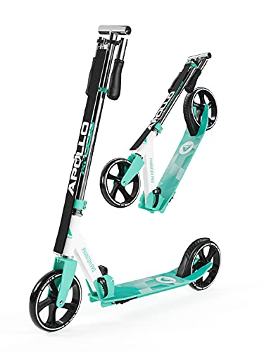 APOLLO Adult Scooter with Big Wheels (XXL) - 3-Sec Foldable Scooter for Adults, Teens, Kids 6+ Years - Kick Scooter with Adjustable Height Handle Bar, Easy Stow, Smooth Ride - 220 lbs