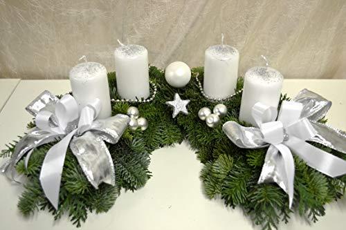 Adventskranz frisch Halbmond weiß Silber 40 cm Weihnachten Advent Gesteck