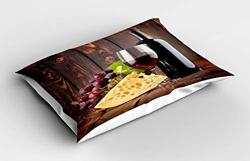 ABAKUHAUS Vino Funda de Almohada, Cabernet Botella Queso, Decorativa de Suave Microfibra Estampada Lavable, 80 cm x 40 cm, Brown Borgoña Crema