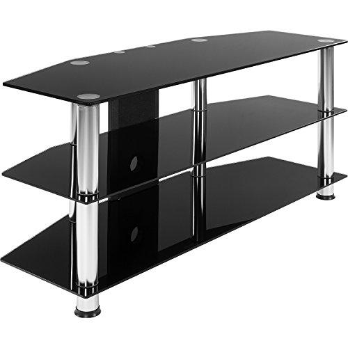 STILISTA TV Rack Glas Tisch, 110 x 50 x 40 cm, 8 mm Sicherheitsglas, Aluminium Tubes, Fernsehtisch, Regal