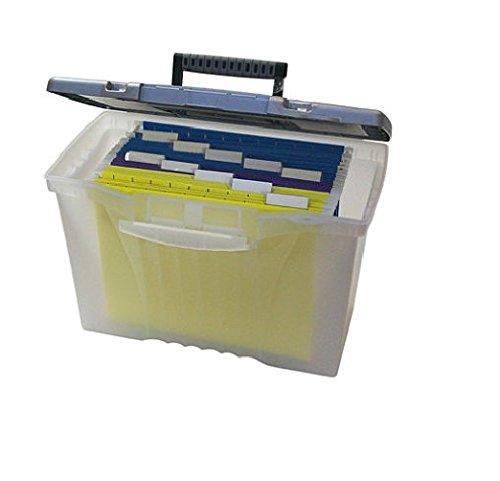 Storex – Portable Boîte de stockage de fichiers W/Organizer Couvercle, Letter/Legal, clair – Vendu comme 1 chaque – Compartiment Organiseur dans le couvercle pour Fournitures.