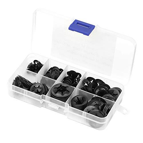 Juego de arandelas de seguridad - Kit de surtido de arandelas dentadas internas de 260 piezas, acero al manganeso, 3/4 / 5/6/8/10 / 12MM