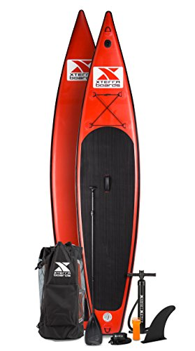 XTERRA Inflatable 12.6' Touring Stand Up Paddle Board Premium SUP Bundle | Includes Board (6' Thick) , Pump, Adjustable Paddle, Easy Carry Backpack, Ankle Leash and Repair Kit