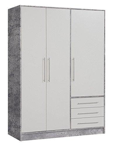 Kleiderschrank, B 145 cm, Weiß - Beton, 3 Türen & 3 Schubladen