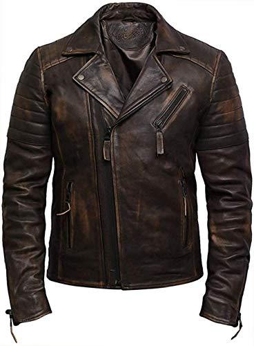 BRANDSLOCK Herren Echtes Leder Kreuz Zip Brando Jacke Vintage Retro