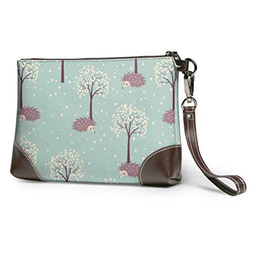 JIUCHUAN Bolso de mano con diseño de erizos de bosque de invierno, cartera de cuero con diseño de erizos, cartera para mujer, bolso de noche para mujer, bolso de mano para smartphone