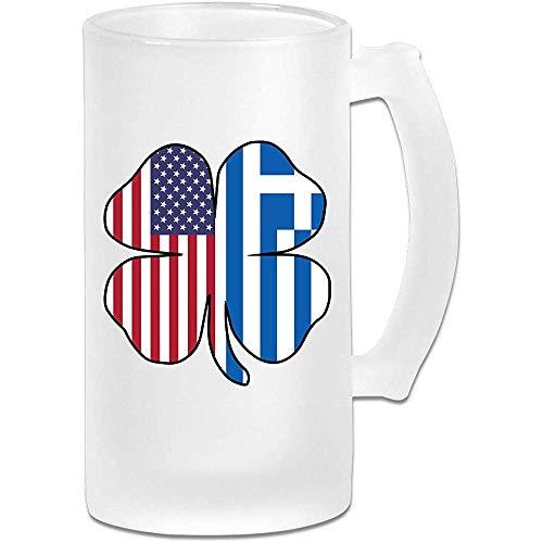 Amerikaanse Griekenland Griekse vlag Shamrock Frosted glas Stein bier mok, pub mok, drank mok, geschenk voor bier Drinker, 500Ml (16.9Oz)