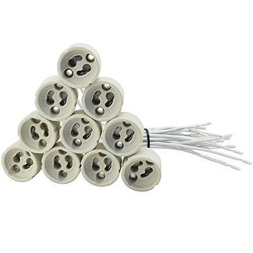 10 pezzi Fineled portalampada GU10 in ceramica con 0.5mm² cavo in silicone base lampadina connettore adattatore per 240 V LED/CFL/lampada alogena