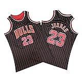 Bulls # 23 Jordan Basketball Trikot, All-Star Herren Spielweste 100% Polyester Dichtes Sticktrikot Schwarz Rote Streifen S-XXL-L