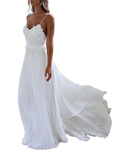 XJLY Spaghetti Straps Applique Backless Long Chiffon Beach Wedding Dress Ivory