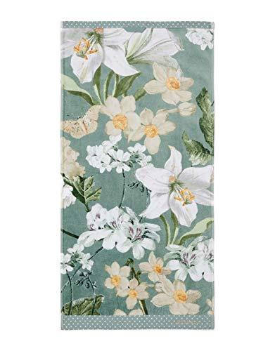 ESSENZA Toalla Rosalee Flores de algodón orgánico (GOTS) verde, 55 x 100 cm