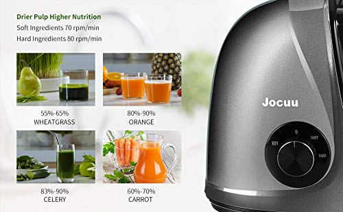 Slow Juicer Masticating Juicer Machine, Jocuu Juicers for Fruit and Vegetable with Soft/Hard Modes, Quiet Motor…