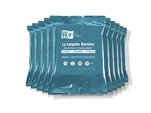 L'Essuie-Fraise - Pack de 10 x 12 = 120 toallitas desinfectantes virucidas transportables eficaces en manos, objetos (smartphones, teclados, etc.) y superficies