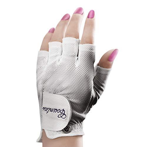 Powerbilt Countess Half-Finger Golf Glove - Ladies LH Small, White(Small, Worn on Left Hand)