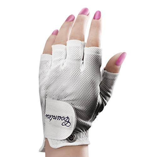 Powerbilt Countess Half-Finger Golf Glove - Ladies LH Large, White(Large, Worn on Left Hand)