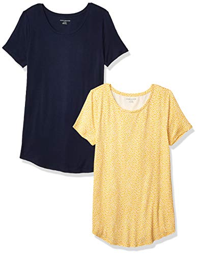 Amazon Essentials 2-Pack Short-Sleeve Scoopneck Tunic Fashion-t-Shirts, Yellow Mini Tulip/Navy, US XS (EU XS - S)