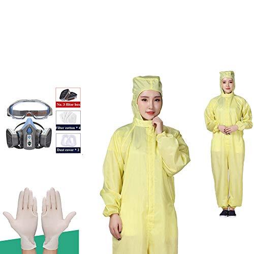MXUS antistatische Arbeitskleidung Isolierkleidung Farbe: Gelb + Einweghandschuhe + geschlossene Brille, XXXX-Large