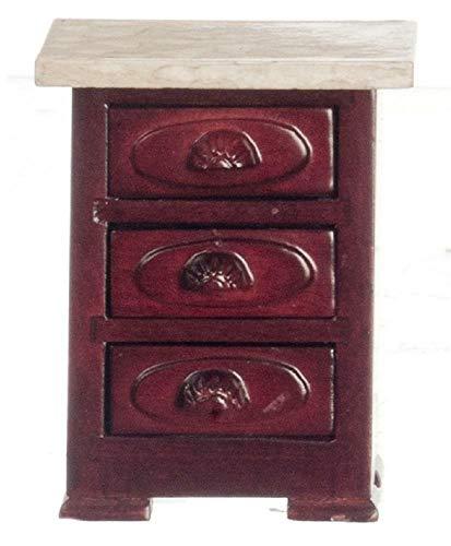 Melody Jane Puppenhaus Miniatur Möbel Viktorianisch Mahagoni Marmor Oberteil Nachttisch Truhe