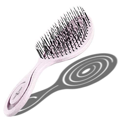 CHIARA AMBRA® Bio Haarbürste mit Stroh, Klimaneutral, ohne Ziepen, Entwirrungsbürste, (rosa)